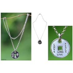 NOVICA Handmade Sterling Silver Coin Necklace ($115) ❤ liked on Polyvore featuring jewelry, necklaces, pendant, sterling silver, sterling silver circle pendant, sterling silver jewelry, peace sign jewelry, sterling silver jewellery and peace sign pendant