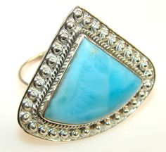 Beautiful Solid Blue Larimar Sterling Silver Ring s. 11