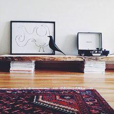 DIY floor shelf.