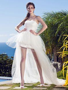 Lanting Princess Petite / Plus Sizes Wedding Dress - Ivory Asymmetrical Strapless Tulle - USD $119.99
