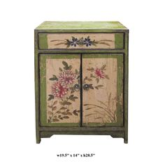 Chinese Green Flower Graphic End Table Nighstand - Golden Lotus Antiques