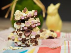 Two Layer Easter rocky Road White Chocolate Rocky Road, Speckled Eggs, Mini Eggs, Marshmallows, Layers, Easter, Candy, Table Decorations, Fruit