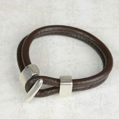 Plutus Silver Plated Leather Mens Bracelet - men's jewellery