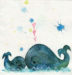 love you whales original painting by Wyanne. $45.00, via Etsy.