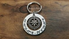 Longitude & Latitude Personalized Coordinates Keychain, Our Love Knows No Distance Hand Stamped Compass Keychain, Long Distance Couples Gift by JazzieJsJewelry on Etsy