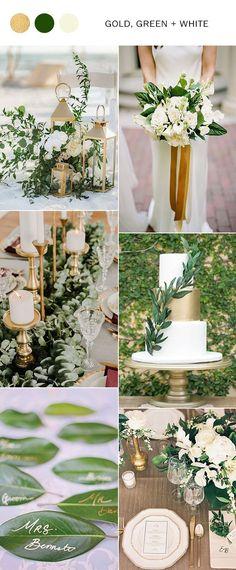 gold green and white elegant wedding color ideas #weddinginspiration #weddingcolors #greenwedding #goldwedding #weddingideas