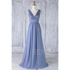 2017 Steel Blue Convertible Top Bridesmaid Dress, A Line Chiffon... ❤ liked on Polyvore featuring dresses, gowns, blue dress, blue ball gown, a line prom dresses, chiffon prom dresses and prom dresses