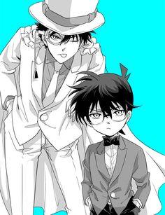 Kaito kid and Conan Conan Comics, Detektif Conan, Detective Conan Shinichi, Kaito Kuroba, Kaito Kid, Kudo Shinichi, Human Drawing, Magic Kaito, Case Closed