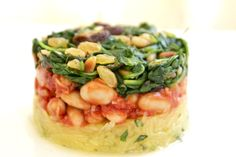 Spagetti Squash, White Bean Stew & Sautéed Spinach.   Read more at http://daniellelevynutrition.com/2013/09/29/spagetti-squash-white-bean-stew-sauteed-spinach/#hYK11TgVId7FP28a.99