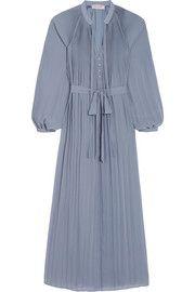Elegante plissé crepe midi dress