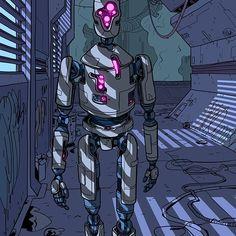 TGISFF #scififriday #robot #droid #automaton #AI #artificialintelligence #humanoid #android #lighting #urban #blinds #vents #slats #futuristic #future #cyberpunk #scifiart #sciencefictionart #sciencefiction #drawing #illustration
