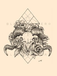 Ram Skull with floral done with Staedtler ink pens on Strathmore paper. Want a copy? —-> Etsy /// Follow me for all things tattoo ///