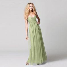 ブライズメイド・ボビネットフロアレングスドレス。ガーデンに映えるグリーンのブライズメイドドレス。  #Bridesmaid #Dress #Green #Wedding