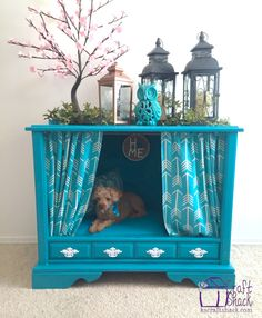 TV Makeover: Dog bed Decoart second chances runner up - vintage TV cabinet turned into a Dog bed. - by kscraftshack