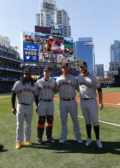 Johnny Cueto, Buster Posey, Madison Bumgarner, and Brandon Belt at the MLB All-Star game at Petco Park in San Diego on July 12, 2016.