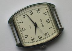 Rare soviet POLJOT watch Art-deco style. Chromed case, White dial *SERVICED* VGC