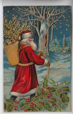 Santa Christmas Postcard 1907 1915 Santa Delivering Toys embossed Gold | eBay