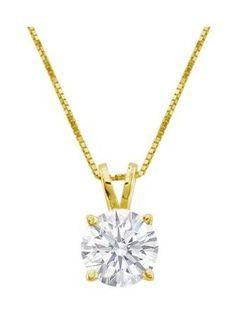 Near 1/2 Carat 4 Prong Solitaire Basket Diamond Pendant Necklace 14K Yellow Gold (I, I2, 0.45 ctw) ❤ Houston Diamond Cutters