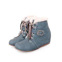 plana calcanhar botas dos pés redondos das mulheres com lace-up (mais cores) – BRL R$ 105,61