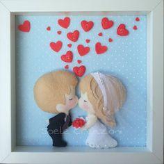 Oggi sposi #fattoamano #handmade #teramo #feltro #love #amore #marriage #matrimonio #italianlove #lavorisucommissione Felt Decorations, Handmade Decorations, Felt Crafts, Diy And Crafts, Quilling Dolls, Amigurumi For Beginners, Picture Gifts, Felt Patterns, Frame Crafts
