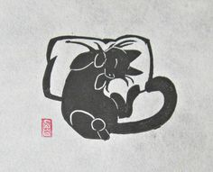 Catnapped - Mini Black Cat Lino Block Print by OniOniOniArt