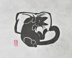Catnapped - Mini Black Cat Lino Block Print by OniOniOniArt
