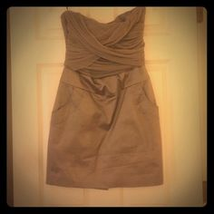 ***REDUCED*** Bebe strapless nude dress Nude wrap tube dress by Bebe. Worn once and kept in the closet! In perfect condition. Just needs steam/ironing 😀 bebe Dresses Strapless