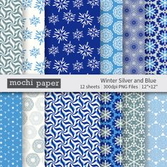 Snowflake Digital Paper / Winter Blue Gray White by MochiPaperShop, $3.50