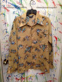 Vintage men's long sleeve polyester pimp nylon disco button down size small 15 medium tan with blue flower motif 70's by RagsAGoGo, $25.00