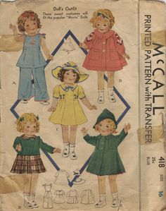 1930s McCall Sewing Pattern Shirley Temple Doll Clothes Costumes Movie Dolls Vintage Toys. via Etsy.