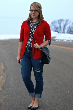 I need a red cardigan and some slightly distressed jeans
