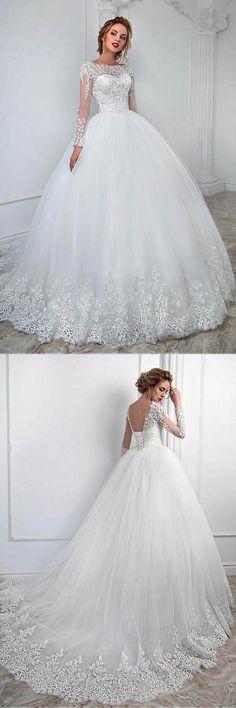 Lace Wedding Dresses #LaceWeddingDresses, Ball Gown Wedding Dresses #BallGownWeddingDresses, 2018 Wedding Dresses #2018WeddingDresses