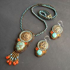 Nike – Bead Embroidered Necklace and Earrings Set with Turquoise and Carnelian Agate  This set was created around 3 antique brass buttons, w...