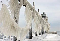 Frozen Lighthouses on Lake MIchigan