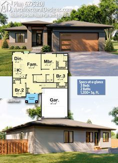 Plan 62752dj Modern One Level House Plan With 3 Bedrooms In 2020 One Level House Plans House Plans Modern House Plans