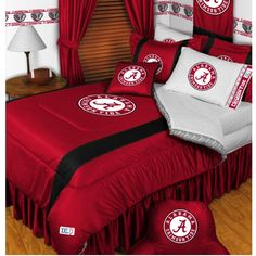 Create the coolest dorm room on your hall or add a decorator touch to your #Alabama themed bedroom at home with this luxurious Alabama #Crimson Tide Comforter Set. Check it out: http://www.collegelogostuff.com/alabamacomforterset.html
