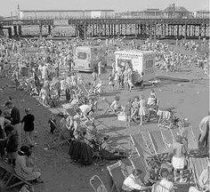 Beach at New Brighton Liverpool History, Liverpool Home, New Brighton Beach, Magic Eyes, School Photos, Outdoor Pool, Old Photos, Seaside, New York Skyline