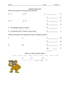 Printables Negative And Zero Exponents Worksheet pinterest the worlds catalog of ideas students can practice writing negative exponents in various forms then place matching