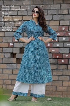 Taj Cotton fabric kurta with block screen print and bottom with full flair Plazo, Sleeves in pattern Collar pattern Daily office wear, Perfect for all season specially in summer Size m to xxl Kurta Designs, Blouse Designs, Plazo Kurti, Kurta Palazzo, Collar Pattern, Office Wear, Cotton Dresses, Designer Dresses, Cotton Fabric