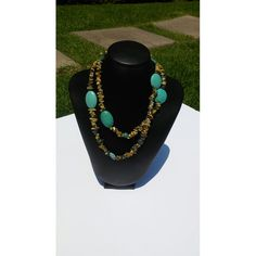 No Clasp Yellow Turquoise Chip and Turquoise Necklace 36 in
