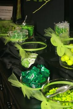 Lime green candy buffet table for Wicked themed party 10th Birthday Parties, Boy Birthday, 12th Birthday, Witch Party, Halloween Party, Xbox Party, Candy Buffet Tables, Video Game Party, Green Candy