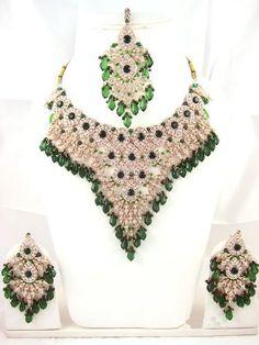Wedding Jewelry Sets- Green Tone Studded Beaded Indian Necklace Sets Mogul Interior, http://www.amazon.com/gp/product/B00934BJV8/ref=cm_sw_r_pi_alp_91Spqb0JTGHDR