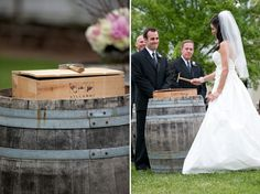 Prior to the wedding, the bride & groom wrote a letter to each other. During the ceremony, they put the letters into a box containing 2 bottles of wine and symbolically hammered it shut. If their marriage ever endured serious hardships in the future, they promised to sit down together, drink the wine and read the letters that reminded them of how much they loved each other on their wedding day. What a beautiful idea.