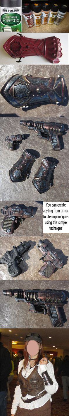 How to Make Steam punk Armor/Guns plastic squirt gun (or item) Spray with black plastic paint once dry, paint with metallic acrylic paints (I used copper, gold, silver) Tips: You can sand off words/writing on plastic guns and then paint. Arte Steampunk, Steampunk Weapons, Steampunk Crafts, Steampunk Gadgets, Steampunk Cosplay, Steampunk Fashion, Steampunk Circus, Cosplay Armor, Cosplay Diy