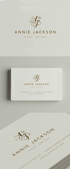 Annie Jackson Identity and Stationery, beautiful letterpress business card with feminine logo design and monogram letters, very elegant and luxurious with golden details. Beauty Business Cards, Luxury Business Cards, Elegant Business Cards, Business Card Design, Luxury Logo Design, Graphisches Design, Elegant Logo Design, Design Homes, Design Firms