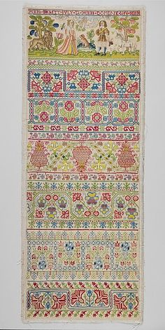 Sampler Maker: Anna Buckett Date: 1656 Culture: British Medium: Linen worked with silk thread; long-and-short, split, stem, back, tent, cross, and satin stiches Dimensions: H. 27 7/8 x W. 10 3/8 inches (70.8 x 26.4 cm); Framed: H. 30 3/4 x W. 12 1/4; D. 1 1/4 (78.1 x 31.1; 3.2 cm) Classification: Textiles-Embroidered Credit Line: Gift of Irwin Untermyer, 1964 Accession Number: 64.101.1327