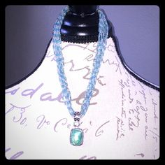 Lia Sophia beaded necklace with turquoise charm Lia Sophia necklace with blue and white beads and turquoise colored charm Lia Sophia Jewelry Necklaces