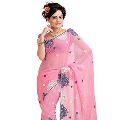 Light Pink Faux Chiffon Saree with Blouse