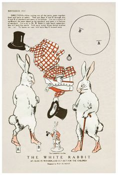 Alice white rabbit paper doll - I have the entire set and think they're wonderful