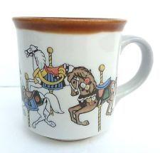 Vintage Mug with Carousel horses ponies brown merry go round